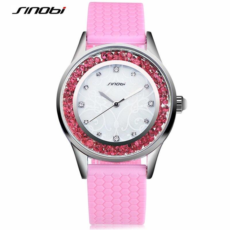 SINOBI Diamond Women Wrist Watches Silicone Watchband Ladies Geneva Quartz Clock font b Female b font
