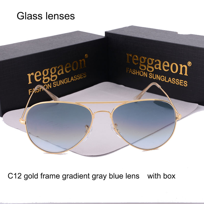 2018 reggaeon brand glass lens sunglasses women Men driving Pilot hot rays aviator sunglasses 3025 reys Color blue high quality