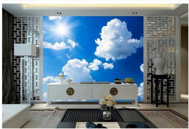 Dipinti Murali Per Interni : D carta da parati per camera cielo blu con nuvole bianche interni