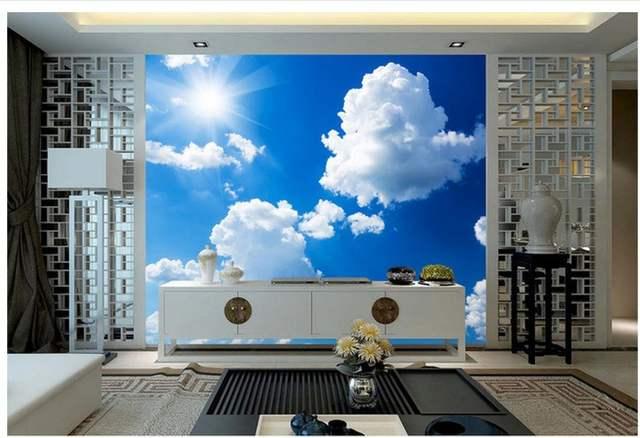 Dipinti Murali Per Interni : Online shop d carta da parati per camera cielo blu con nuvole