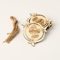 10pcs Laser Cut Easter Egg Wooden Tag Chips Embellishment Decorative Pendants DIY Hanging Ornament With String