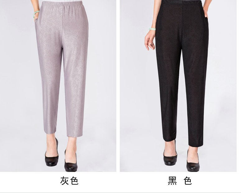 Elderly Women Casual Pants Gray Black Shadow Pattern Trousers Female High Waist Elastic Band Pantalones Mujer Mother Leisure Pant Summer (4)