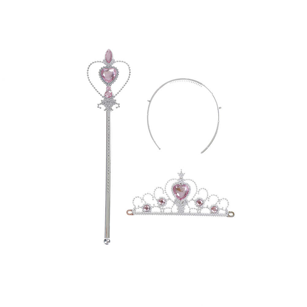 2 sztuka/zestaw księżniczka elza akcesoria cosplay dzieci diamentowe korony diadem + magiczna różdżka dziewczyny akcesoria do włosów
