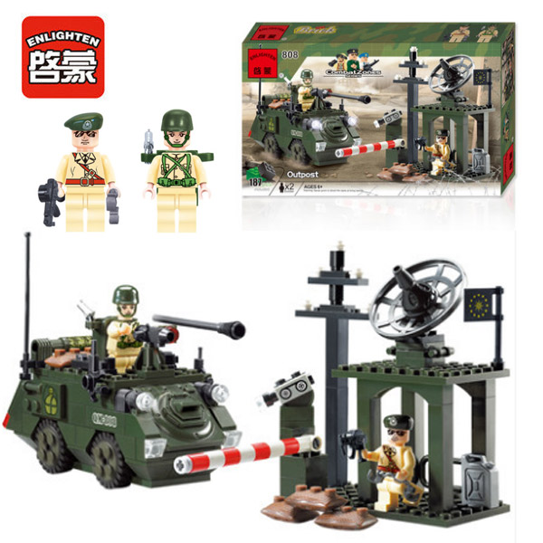 Enlighten 808 Combat Zones Modern Military Outpost Reconnaissance Station SWAT Model Bricks Building Block Toys For Gift atlas 1 43 germany horch kfz 15 military command reconnaissance vehicle model alloy collection model holiday gift
