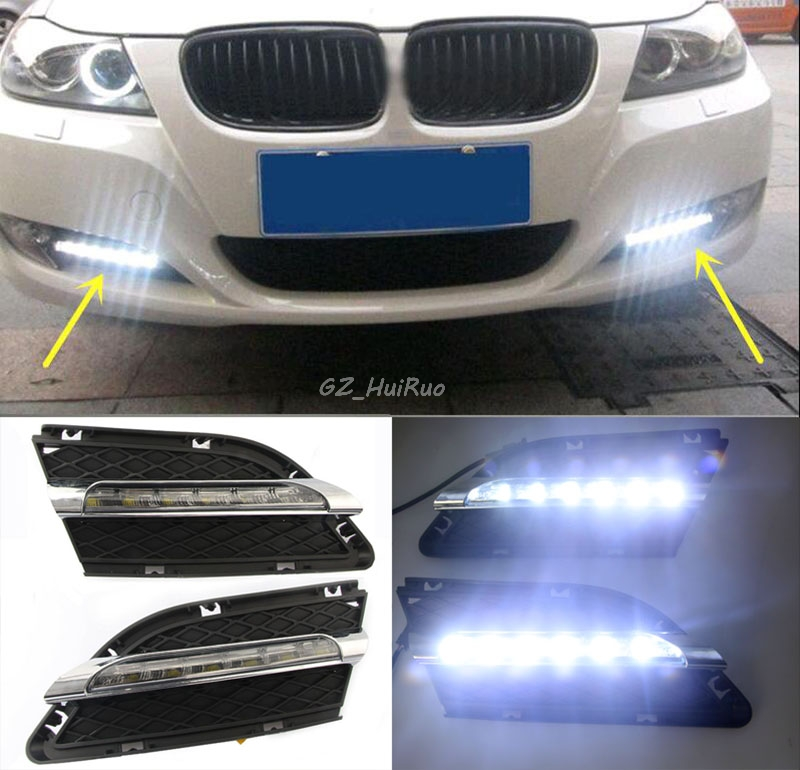 1 Set Daytime Running Light DRL LED Fog Lamp Fit For2010 2011 2012  BMW E90 LCI 3 Series 328 335  car styling led day light hot sale abs chromed front behind fog lamp cover 2pcs set car accessories for volkswagen vw tiguan 2010 2011 2012 2013