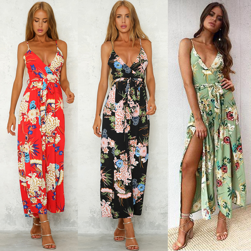 Missufe Women Jumpsuit Sexy Side Slit Split Floral Print Long Playsuit Summer Casual Beach Romper V Neck Tunic Straight Overalls