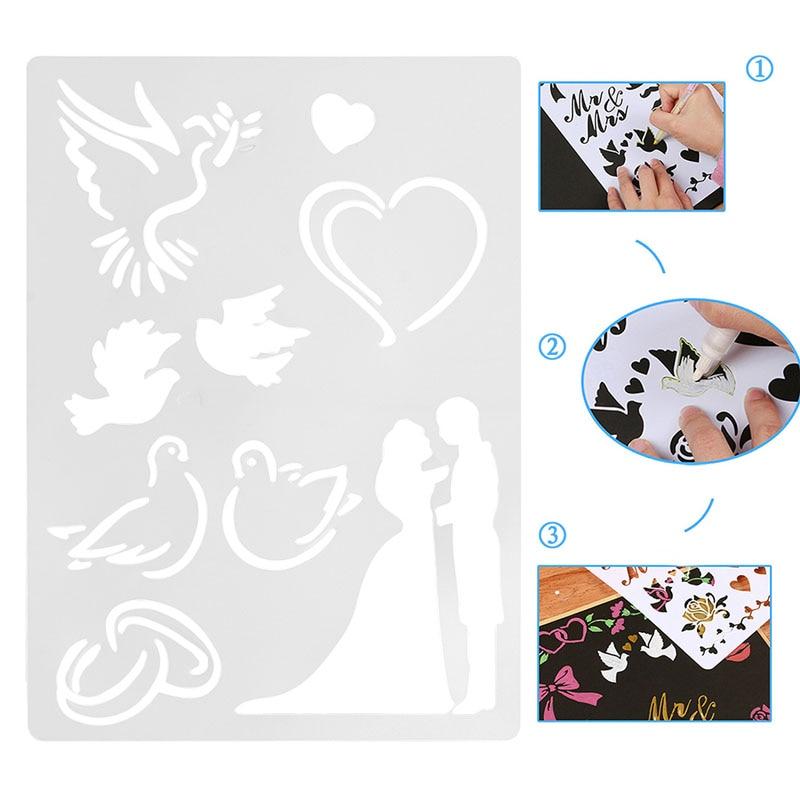 Wedding Couple Plastic ReusableTemplate Stencil Spray Paint Art Home DIY Decor W15