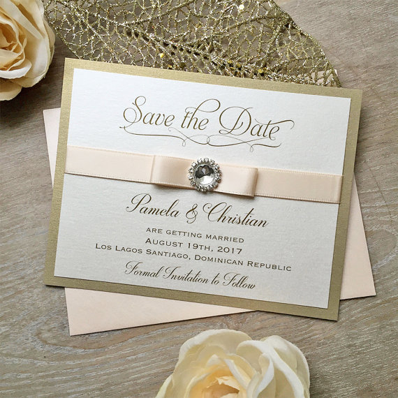 Save the Date Double Satin Ribbon and Silver Crystal Embellishment CA0753