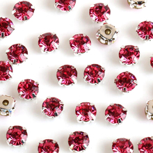 Sew on Rhinestone Rose color all size 3mm/4mm/5mm/6mm/7mm silver Gold claw base crystal stones use for DIY accessories