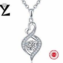 100% 925 collares de plata de ley para las mujeres con cadena de eslabones de plata baile aaa Cubic Zirconia colgante mejor regalo