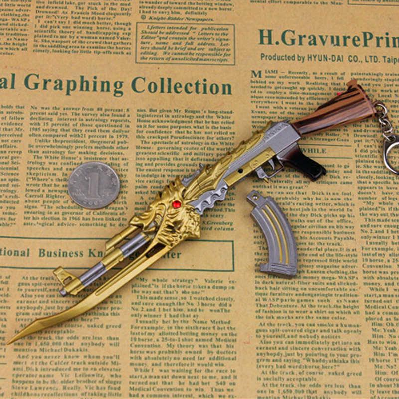 22cm Metal CF Cross Fire Gun Keychain Hero Weapon Noble gold AK-47-Beast  Red Knight AK47- Phoenix Model Toy AK 47 Toy Gun