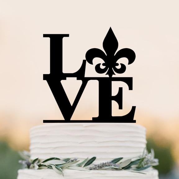 LOVE cake topper, fleur de lis Wedding Cake Topper, modern Cake ...