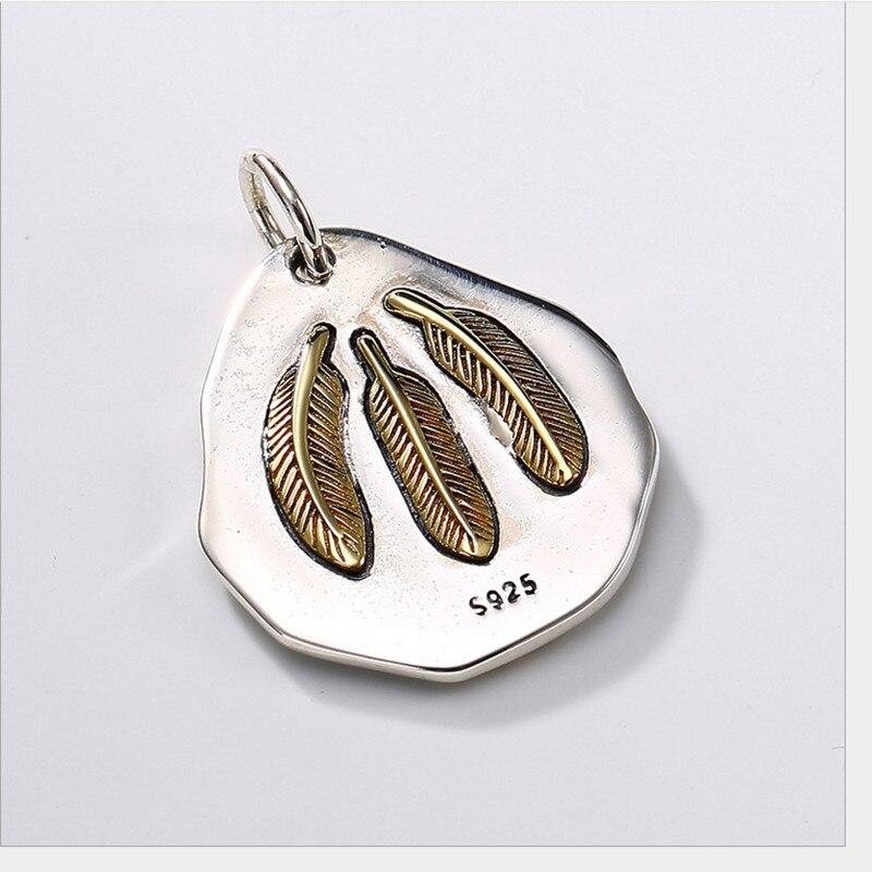 Uglyless 100% réel 925 argent Sterling indien chef pendentif colliers pas de chaîne à la main plumes pendentif exotique bijoux fins - 4