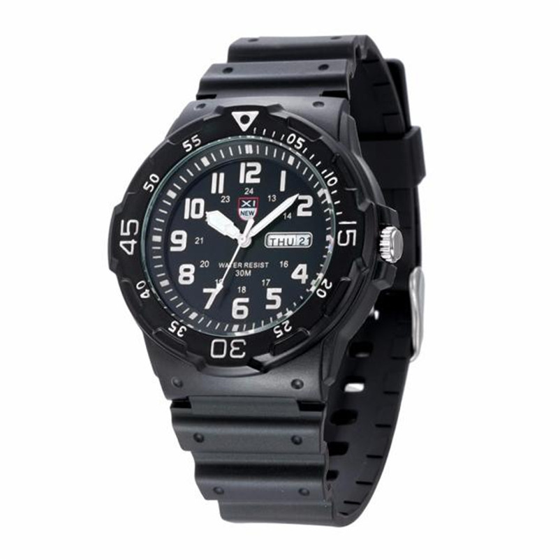 XINEW Men Watches Army Date Sport Resin Wrist Watch Waterproof Analog Quartz Watches Fashion Male Hour Relogio Masculino superior xinew mens fashion silica sport date calendar chronograph analog quartz wrist watch relogio masculino waterproof sep 14