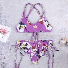 sexy bikini 2019 printing Flower Camisole overlapping Adjustable Frenulum seksi bikinis swimwear women swimsuit biquini