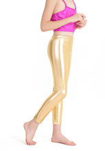 ICOSTUMES New Children Ankle-length Pants Girls Lycra Spandex kids Silver Dance Ballet Leggings