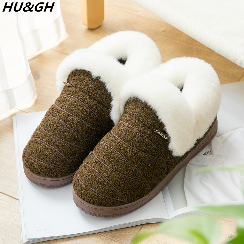 Cotton Warm Home Shoes Plush Lining Slip-on Cozy Indoor York Zhu Unisex House Slippers