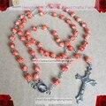 6mm contas de vidro rosário, rosário religioso, cozimento talão rosário colar orange cor