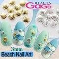 Beleza Manicure 100 pçs/lote 3mm Concha de Prata Em Forma de Acessórios de Strass Decoração Da Arte Do Prego Ferramentas unhas de acrílico branco