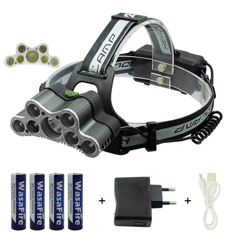 Camping Light 5*T6 LED + 2*XPE LED Headlamp 7 LED Frontal Headlight 6 Mode Head Light + 18650 Battery + Wall Charger + USB Cable singfire sf 645z zooming white blue 3 mode 350lm headlamp w 2 x cree xpe r2 2 x 18650