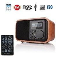 InstaBox i90 FM Radio Wooden Digital Multi Functional Speaker Bluetooth Alarm Clock MP3 Player Supports Micro SD/TF Card USB AUX