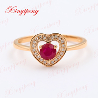 Xinyipeng 18k rose gold inlaid natural ruby ring women to quit 4 * 4 design is contracted with diamonds