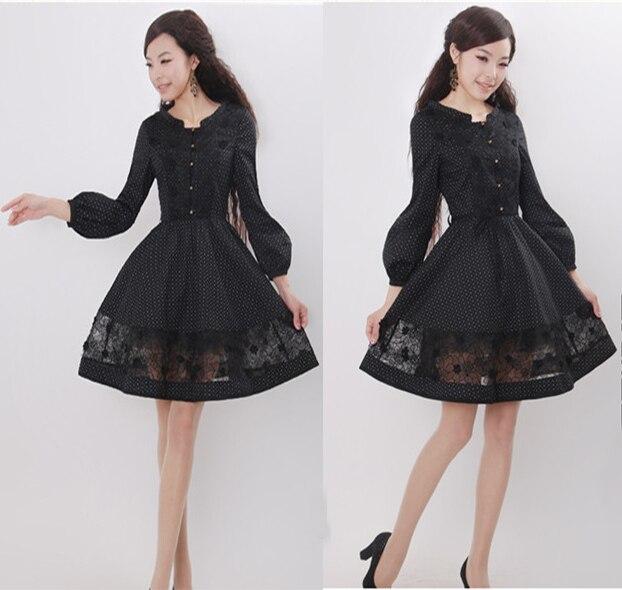 Nouveaux modèles à pois noir vintage robe vestidos de festa femmes décontracté 50 s robes d'été manches bouffantes robes swing