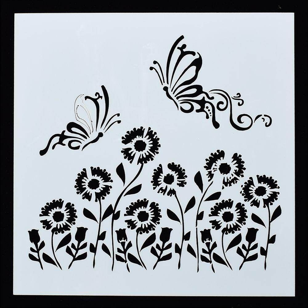 1 PC Capung Berbentuk Bunga Matahari Dapat Digunakan Kembali Stensil Airbrush Lukisan Seni DIY Dekorasi Rumah Scrap Terakhir Album Kerajinan