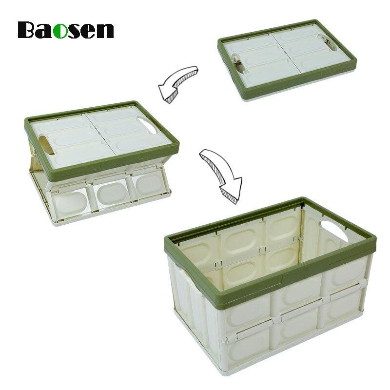 Baosen boîte pliante multifonction véhicule boîte de rangement en plastique pour boisson grande capacité bacs de nourriture en plein air organisation à domicile
