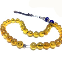 100% Natural Blue Amber 10mm Muslim Taisbha 33 rosary lazuli S925 Accessories Advanced Moslem Supplies Wholesale Free Shipping