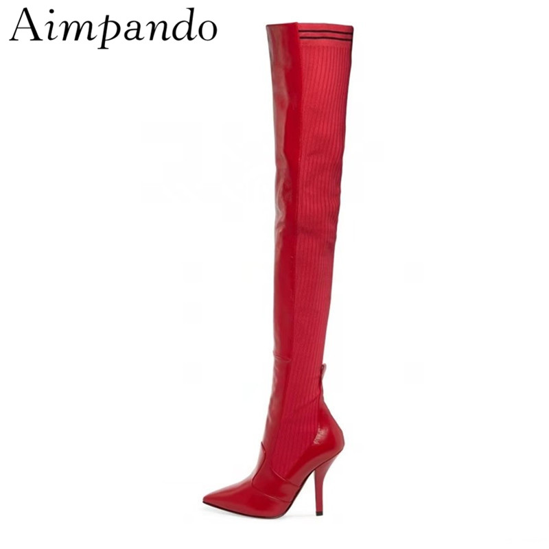 Over The Knee Boots New Autumn Winter Red Leather Knitting Patchwork Thin Heel Point Toe Thigh High Boots WomenOver The Knee Boots New Autumn Winter Red Leather Knitting Patchwork Thin Heel Point Toe Thigh High Boots Women