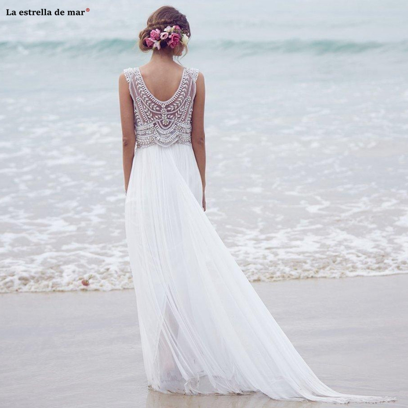 Vintage Bohemian Beach Wedding Dresses 2020 Chiffon Hand Beaded Crystal  White Ivory Bridal Gowns  Robe De Mariee Vestido De No