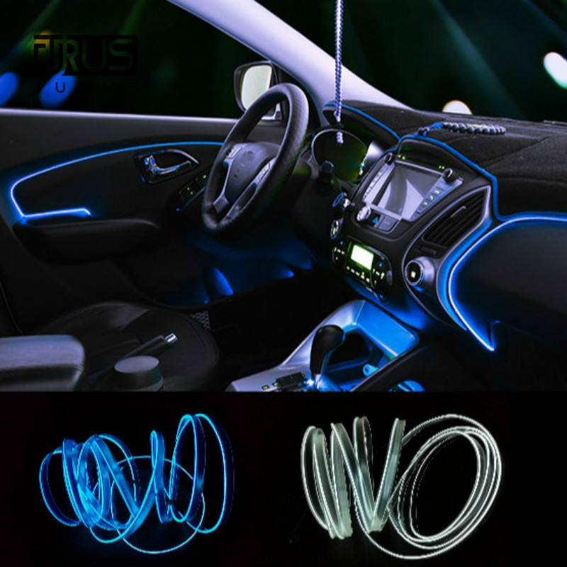 JURUS 3 Meter 10 Farbe Flexible Neon Light El Draht Seil Lampe Auto led Auto Auto Umgebungs Beleuchtung Dekoration 12 v Inverter Auto-Styling