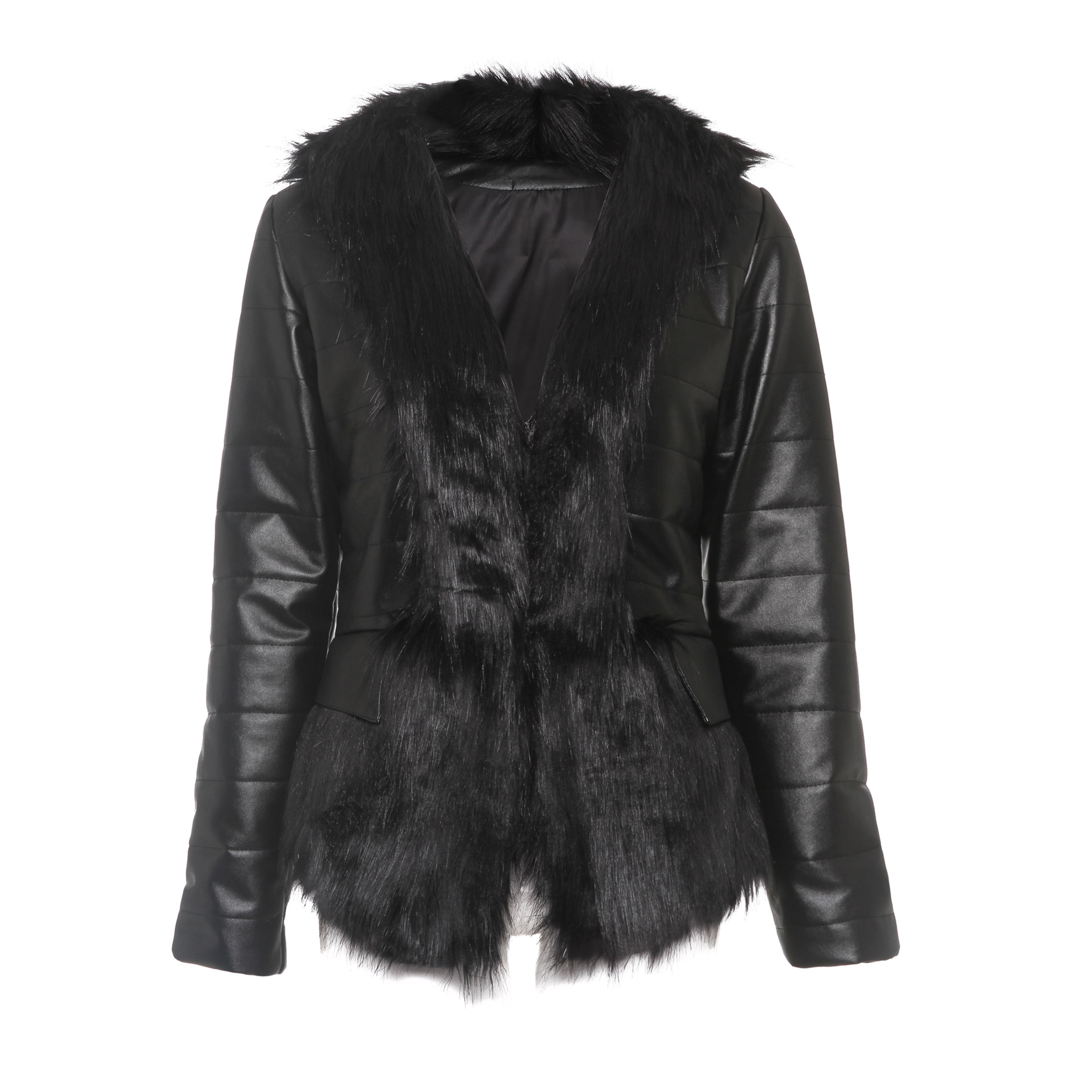 Jacket Female Faux-Leather Womens Outwear Thickening Cotton