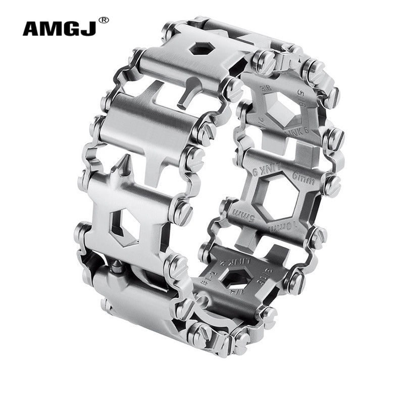 29 in 1 Stainless Steel Chain Bracelets Backpacker Outdoors Emergency Survival Screwdriver Multifunction Tool Tread Bracelet 29 in 1 portable outdoor survival edc tool bracelet multi functional wearable tread stainless steel punk link bracelets strap