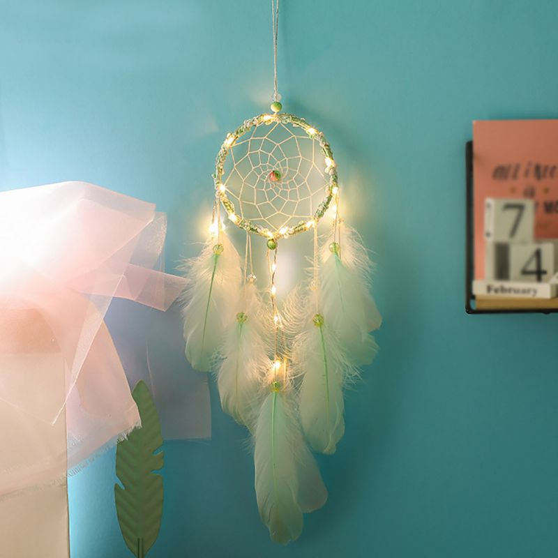 2m 20LED Lighting Girl Room Bell Feather Beads Bedroom Romantic Dream Catcher Wall Hanging Home Decor