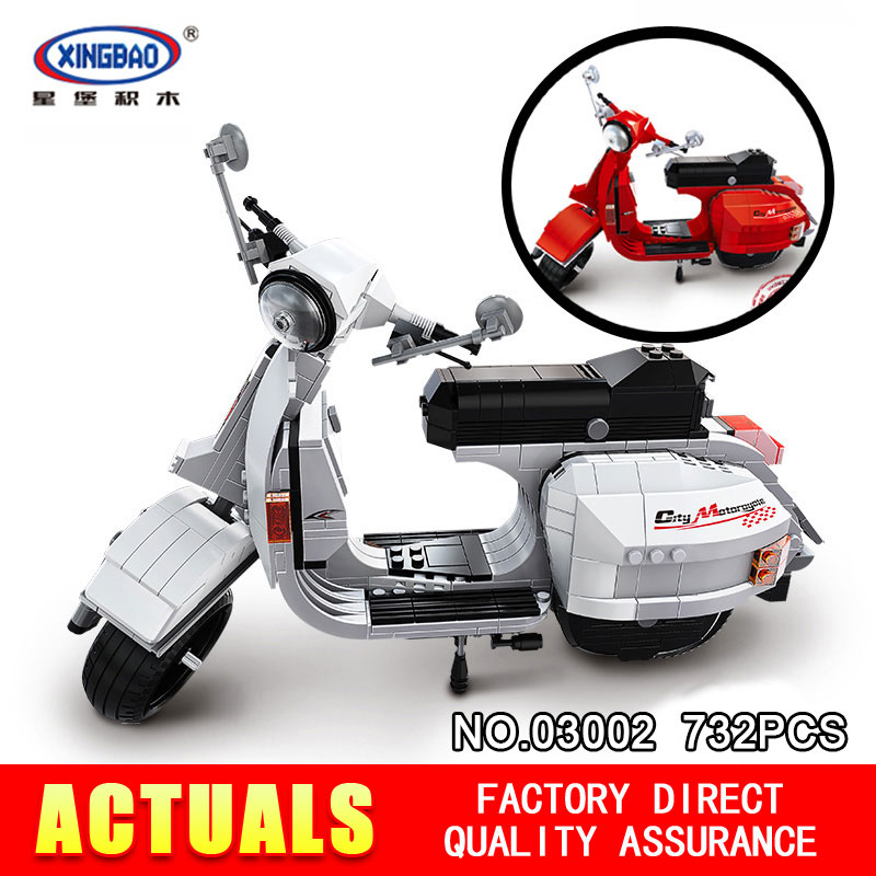 XingBao Block 03002 732Pcs Äkta Creative Technic Classic Series Vespa P200 Moto Byggstenar Tegel Toy Model XB-03002