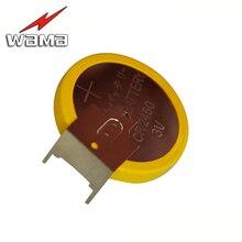 50pcs/lot Wama CR2450 Button Cell Welding Feet Coin Batteries 3V 180 degree 2 Solder Pins Watch BR2450 battery DIY