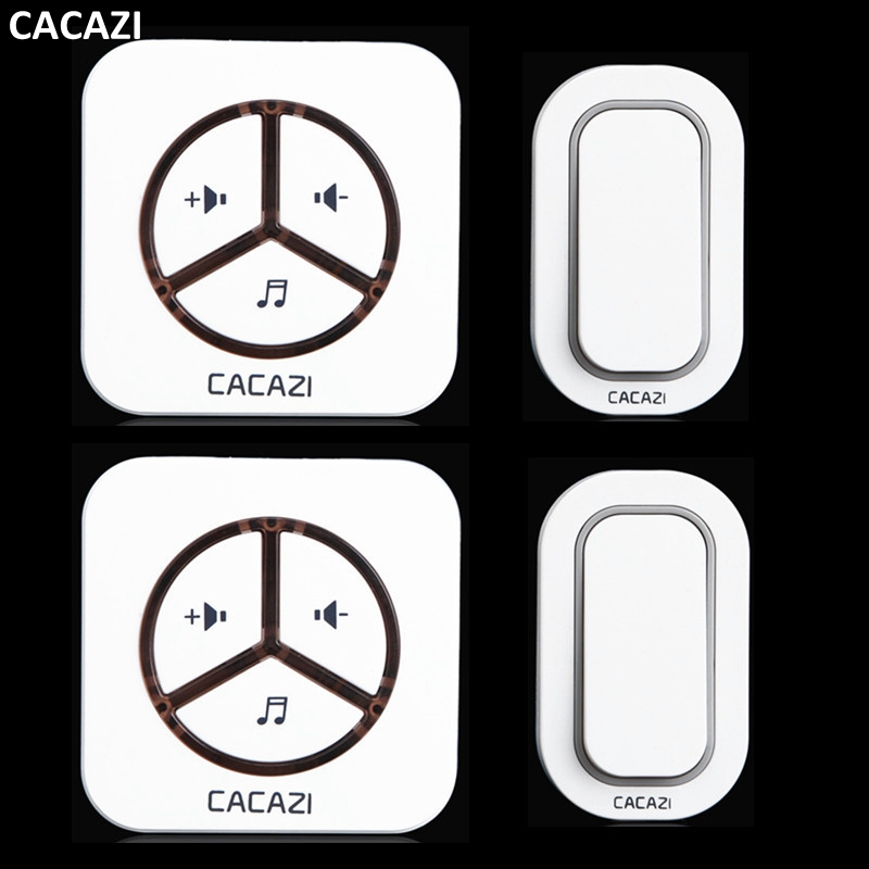 CACAZI New Waterproof  Plug-in Wireless Door Bell Push Button with 2 Outdoor Transmitter + 2 Indoor Wireless Doorbell Receiver 2 receivers 60 buzzers wireless restaurant buzzer caller table call calling button waiter pager system