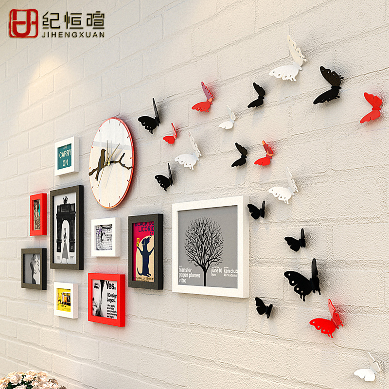 solid wood wall mounted photo frames set with wall clock and wall three dimensional butterfly