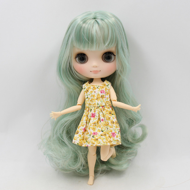 Middie Nude Blyth Doll with mint green mix golden hair matte face gray eye 20cm DIY Toys with hand set  No.BL1147/1049