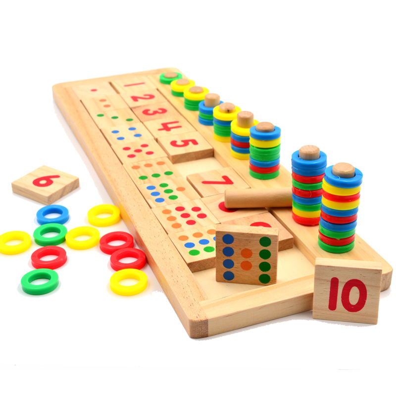 купить 1 set Montessori Rainbow Rings Dominos Children Preschool Teaching Aids Counting and Stacking Board Wooden Math Toy freeshipping недорого