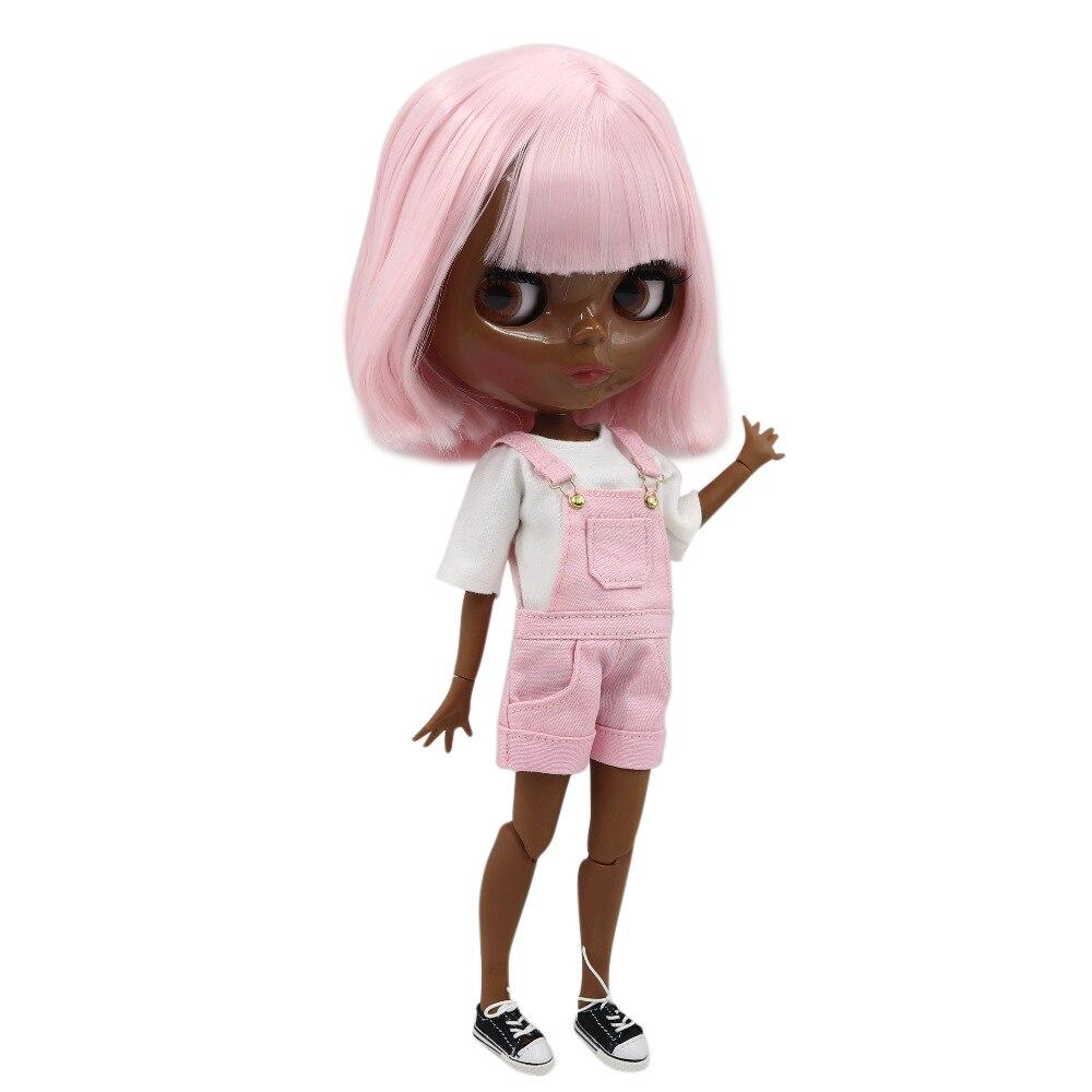 Oyuncaklar ve Hobi Ürünleri'ten Bebekler'de Fabrika blyth doll 1/6 bjd süper siyah cilt tonu koyu cilt kısa pembe saç ortak vücut parlak yüz, 30cm çıplak bebek BL2352'da  Grup 1