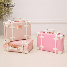 2018 NEW kids fashion pink luggage children suitcase genuine leather girl floral printed retro brand free shipping