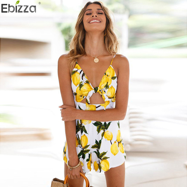 e731ccf5 Ebizza Spaghetti Straps Deep V Neck Hollow Out Romper Bow Lemon Print  Jumpsuit Women Backless Sexy Beach Playsuit Female Overall