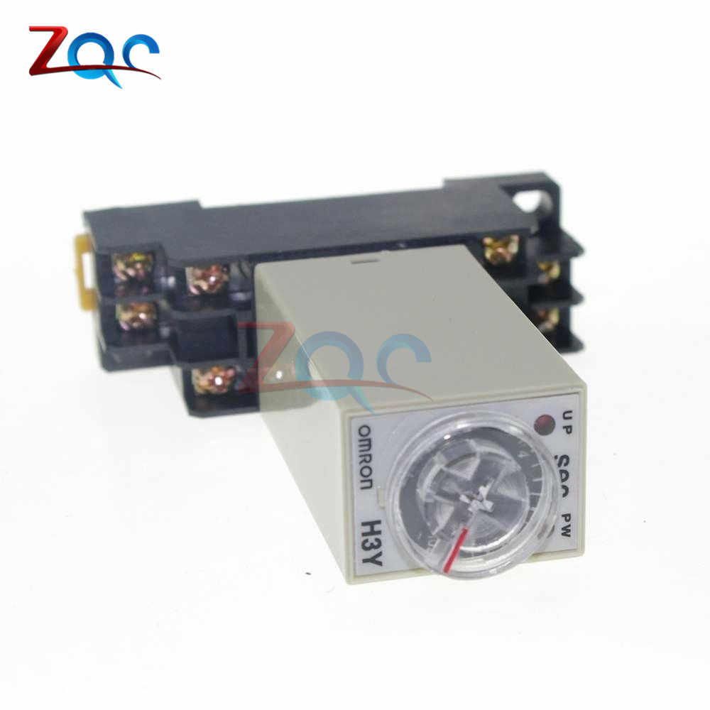 H3Y-2 1-30 Seconds/1-30 Minutes Based Power On Time Delay Solid-State Timer  30M Relay DPDT 8Pin with Socket AC 220V 110V Module