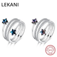 LEKANI Crystals From Swarovski Wide Open Ring Resizable Real S925 Silver Fine Finger Jewelry For Women Wedding Party Accessories