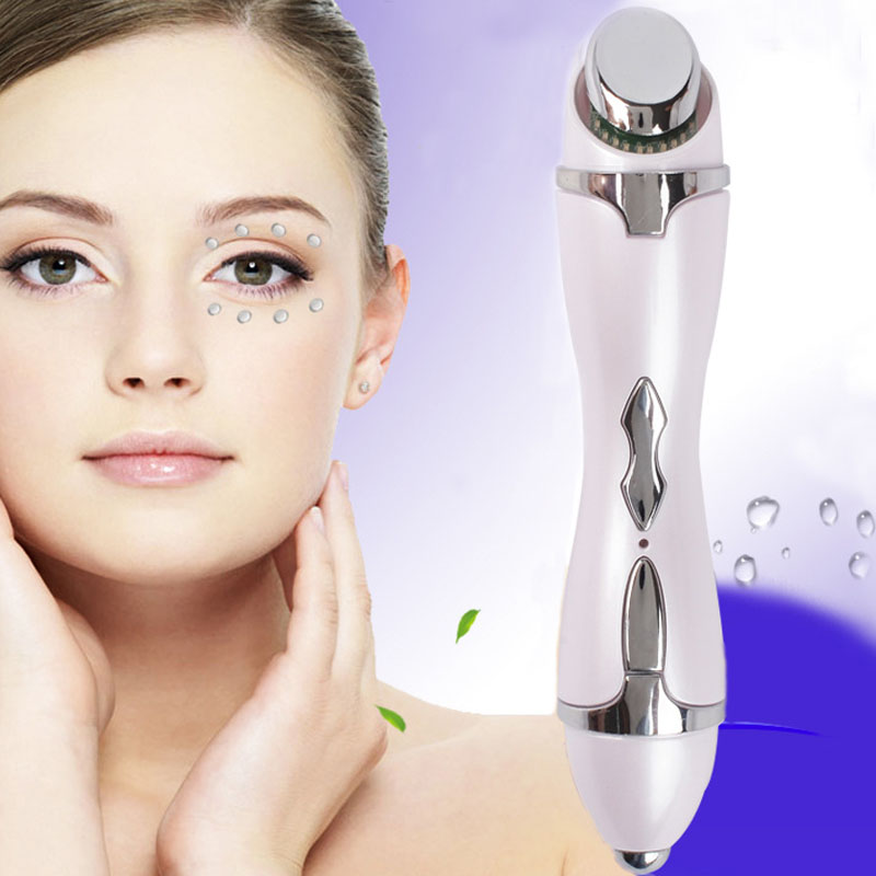 LED Eye Anti-wrinkle Dark Circle Acne Remover Pen Face Microcurrent Lifting Galvanic Ion Thermal Vibration Massager Pen electric vibration eye face massager small anti ageing wrinkle lifting device