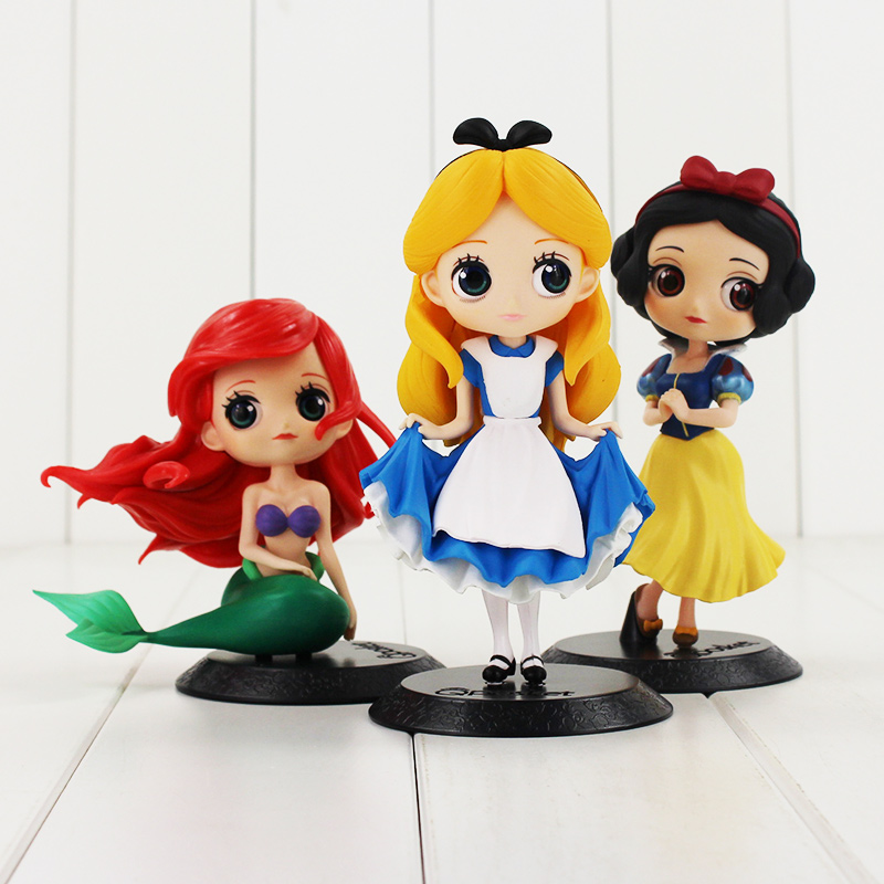 Q Posket Princess Figure Toy Snow White Alice in The Wonderland Ariel The Little Mermaid Beauty Model Dolls alice q posket characters alice alice in wonderland pvc figure collectible model toy doll 15cm