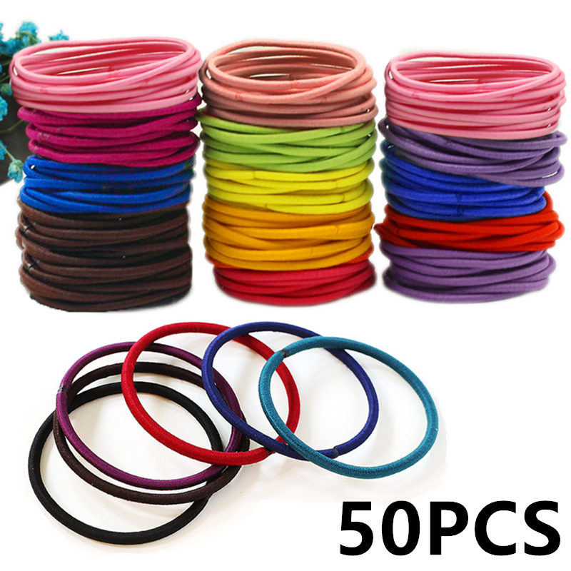 Women Girls Elastic Hair Band 50pcs/pack Colorful Hair Ties Ropes Scrunchy Ponytail Rubberbands Tie Gum Accesorios Pelo ...